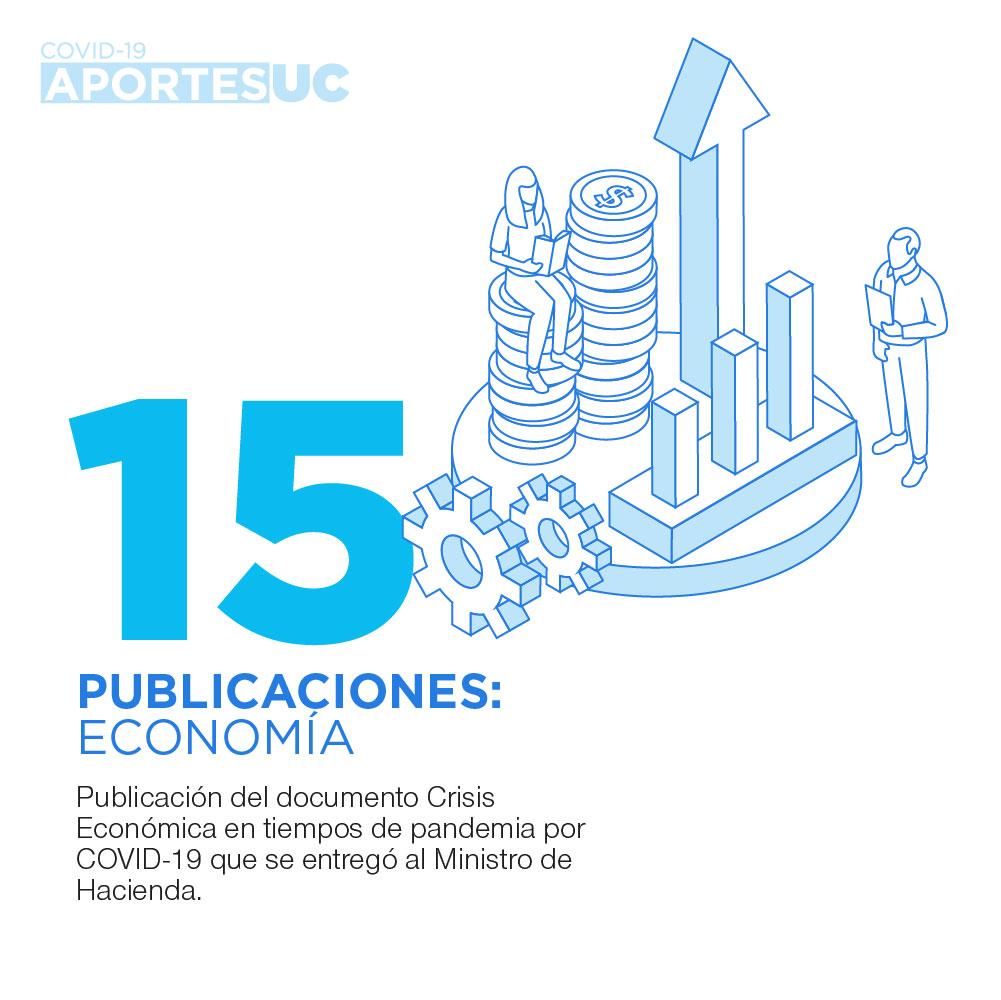 Infografía que muestra cómo la UC busca aportar a las medidas económicas en período de pandemia con la publicación de documento Crisis económica en tiempos de pandemia.
