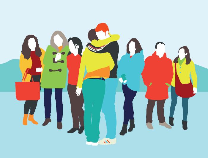 Ilustración de dos personas abrazándose en medio de un grupo.
