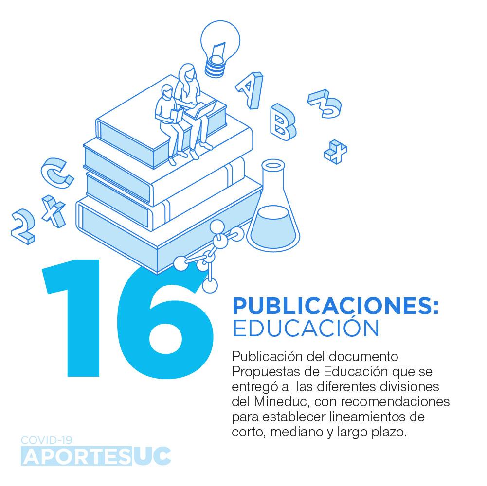 Infografía que muestra cómo la UC busca aportar con recomendaciones en temas de educación en período de pandemia, con la publicación del documento Propuestas de Educación.
