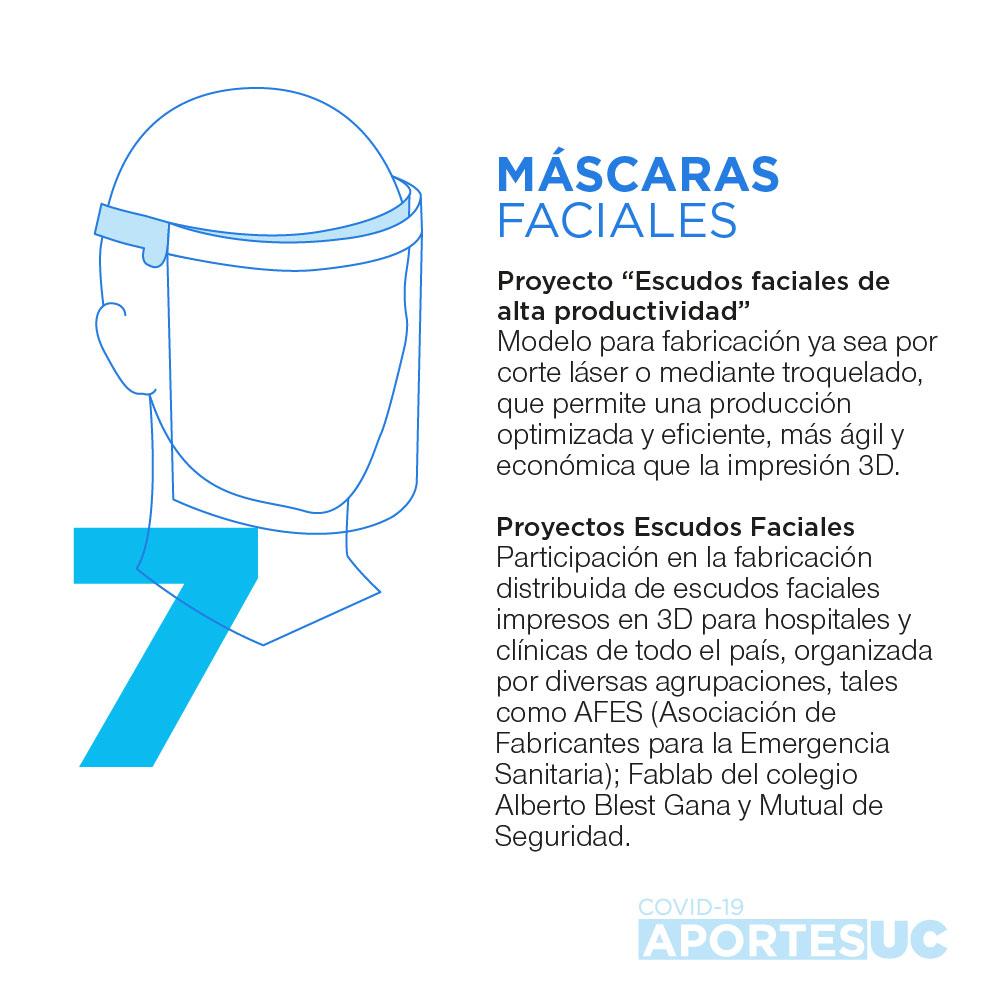 Infografía que muestra cómo la UC busca aportar al cuidado del personal médico a través del desarrollo de escudos faciales de alta productividad.