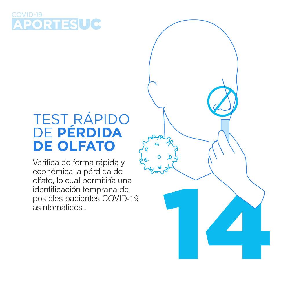 Infografía que muestra cómo la UC busca aportar al cuidado de la población al desarrollar un test rápido de pérdida de olfato para la identificación temprana de pacientes con Covid-19.