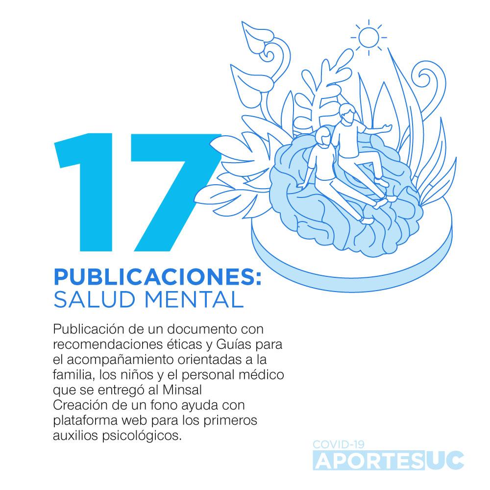 Infografía que muestra cómo la UC busca aportar con recomendaciones en temas de salud mental en tiempos de pandemia y el funcionamiento de un fono ayuda.