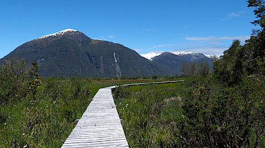 Wooden path over a landscape.