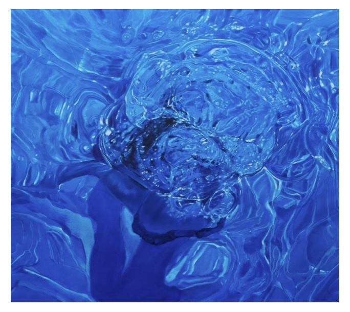 Nicole Tijoux, pintura realista. Imagen de una piscina.